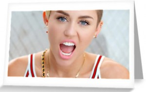 Miley Cyrus Open Mouth Greeting Card