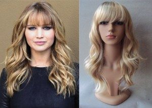 Jennifer Lawrence Blonde Curly Dark Roots Wig