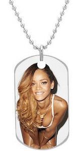 Rihanna Dog Tag Photo Necklace