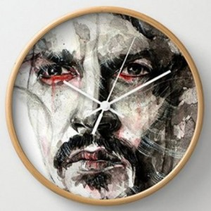 Johnny Depp Face Sketch Round Wall Clock
