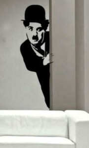 Charlie Chaplin Peeking Wall Decal