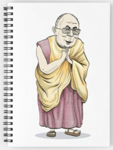 Cartoon Dalai Lama Spiral Notebook