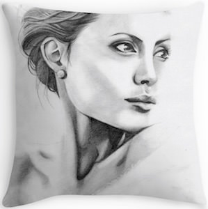 Angelina Jolie Portrait Pillow
