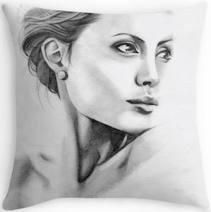 Angelina Jolie Portrait Pillow
