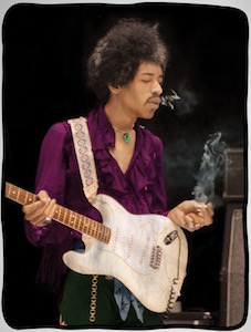 Jimi Hendrix Smoking Fleece Blanket