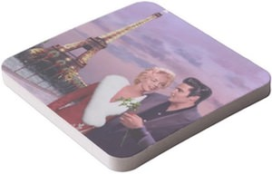 Elvis And Marilyn Monroe In Paris Christmas Coaster