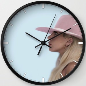 Pink Hat Lady Gaga Wall Clock