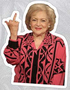 Betty White Middle Finger Sticker