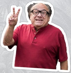 Danny DeVito V Sign Sticker
