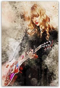 Taylor Swift And Red Guitar Poster