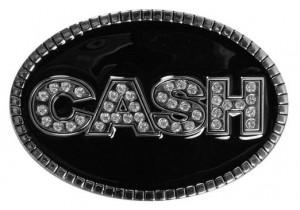 Johnny Cash Silver Rhinestone Belt Buckle