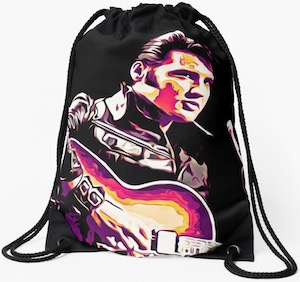 Elvis And His Guitar Drawstring Backpack